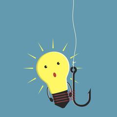 Lightbulb character on fishhook