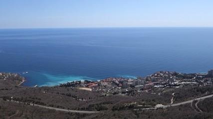 Rocky coast of Black sea about a city of Sevastopol