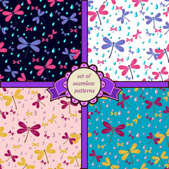 set of seamless patterns with dragonfly-5