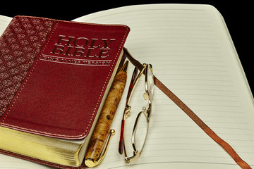 Bible personal journal pen glasses