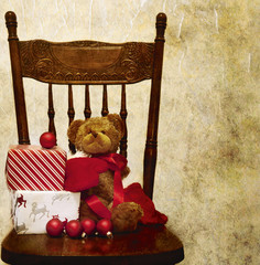 Wrapped presents, gifts, ribbon, ornaments, and a teddy bear soft toy