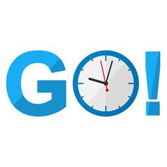 Icono texto GO azul con reloj