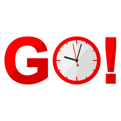Icono texto GO rojo con reloj
