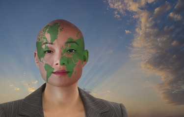 Globe painted on businesswoman's face