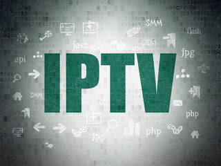 Web development concept: IPTV on Digital Paper background