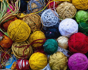 Close up of multicolor balls of yarn