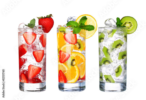 Fototapeta Glass Of Cold fruit Drinks collection isolated on white backgro