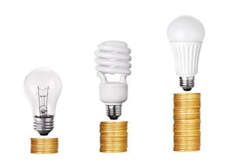 set of Light Bulb LED  CFL Fluorescent  isolated on white backgr
