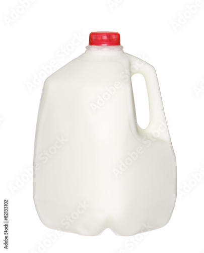 Leinwandbild Motiv gallon Milk Bottle with Red Cap Isolated on White Background.