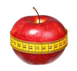 apple with measuring tape lose weight isolated on white backgrou