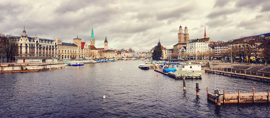Zurich, Switzerland old town Panoramic view