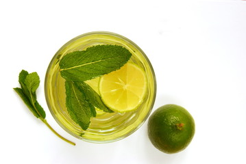 Cold Water Infused With Lime and Mint