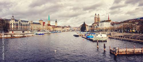 Zurich, Switzerland old town Panoramic view