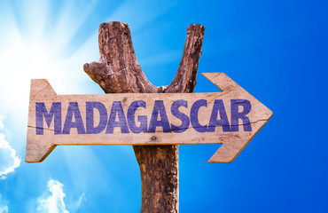 Madagascar wooden sign with sky background