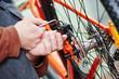 Leinwandbild Motiv bicycle repair or adjustment