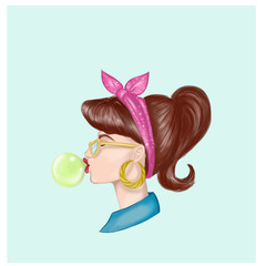 girl chewing bubble gum