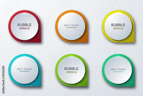 Wektorowe nowożytne kolorowe bąbel mowy ikony ustawiać