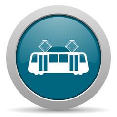 tram blue glossy web icon