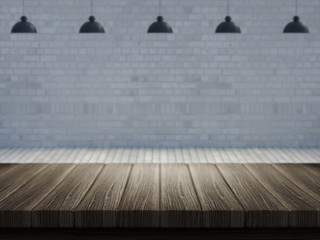 Wooden table with defocussed empty room image