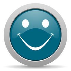 smile blue glossy web icon