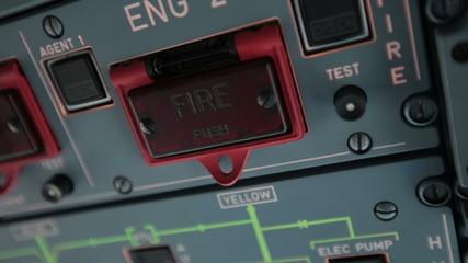 Cockpit cabin. Pilot switch controls aircraft Airbus A320 A319