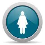 female blue glossy web icon