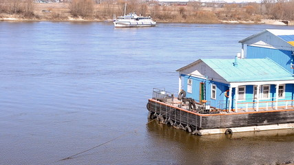 Crossing the Oka river in the spring. Russia