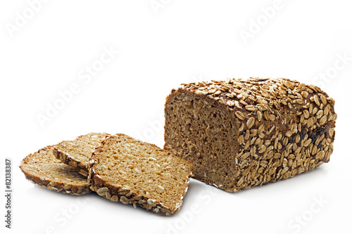 bread with whole grain and seeds isolated on white