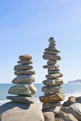 Stacked stones on beach