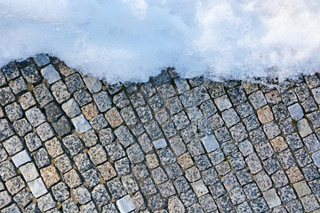 Mosaic wall with snow. Picture can be used as a background