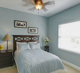 Ceiling fan over bed in bedroom