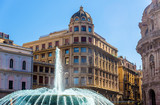 Fountain in Piazza de Ferrari - Genoa, Italy