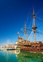 Sailing boat at the port of Genoa - Italy