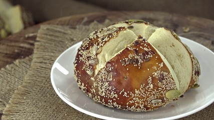 Some Pretzel Rolls (seamless loopable 4K UHD footage)