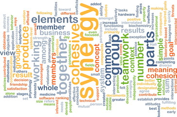 Synergy wordcloud concept illustration