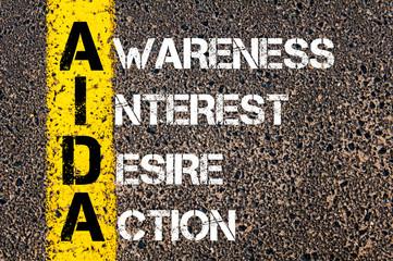 Business Acronym AIDA as AWARENESS INTEREST DESIRE ACTION