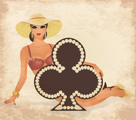 Casino Clubs poker cards pin up woman, vector illustration