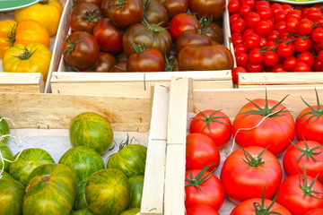 An assortment of tomatoes, Provins market, France