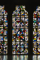 Stained glass windows of church