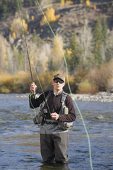 Caucasian fisherman casting off in river