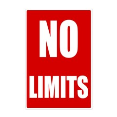 No limits white stamp text on red background