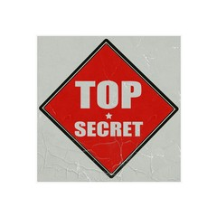 Top secret white stamp text on red background