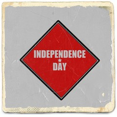Independence day white stamp text on red background