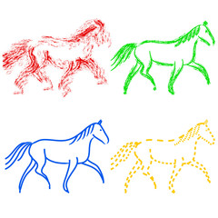 set  colors horses outlines. vector collection