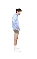 Caucasian businessman wearing shirt, socks and underwear