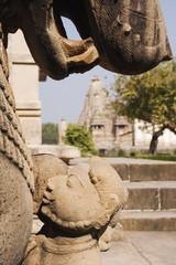 Statues in City Scene