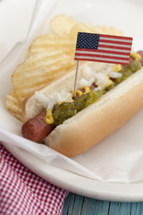 Close up of hot dog with American flag