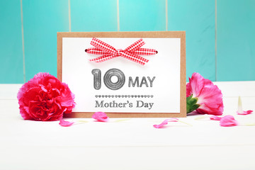 May 10th Mothers Day card with pink carnations