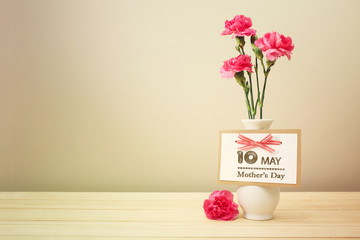 May 10th Mothers Day card with carnations