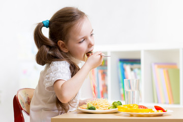 preschooler kid eating healthy food at home